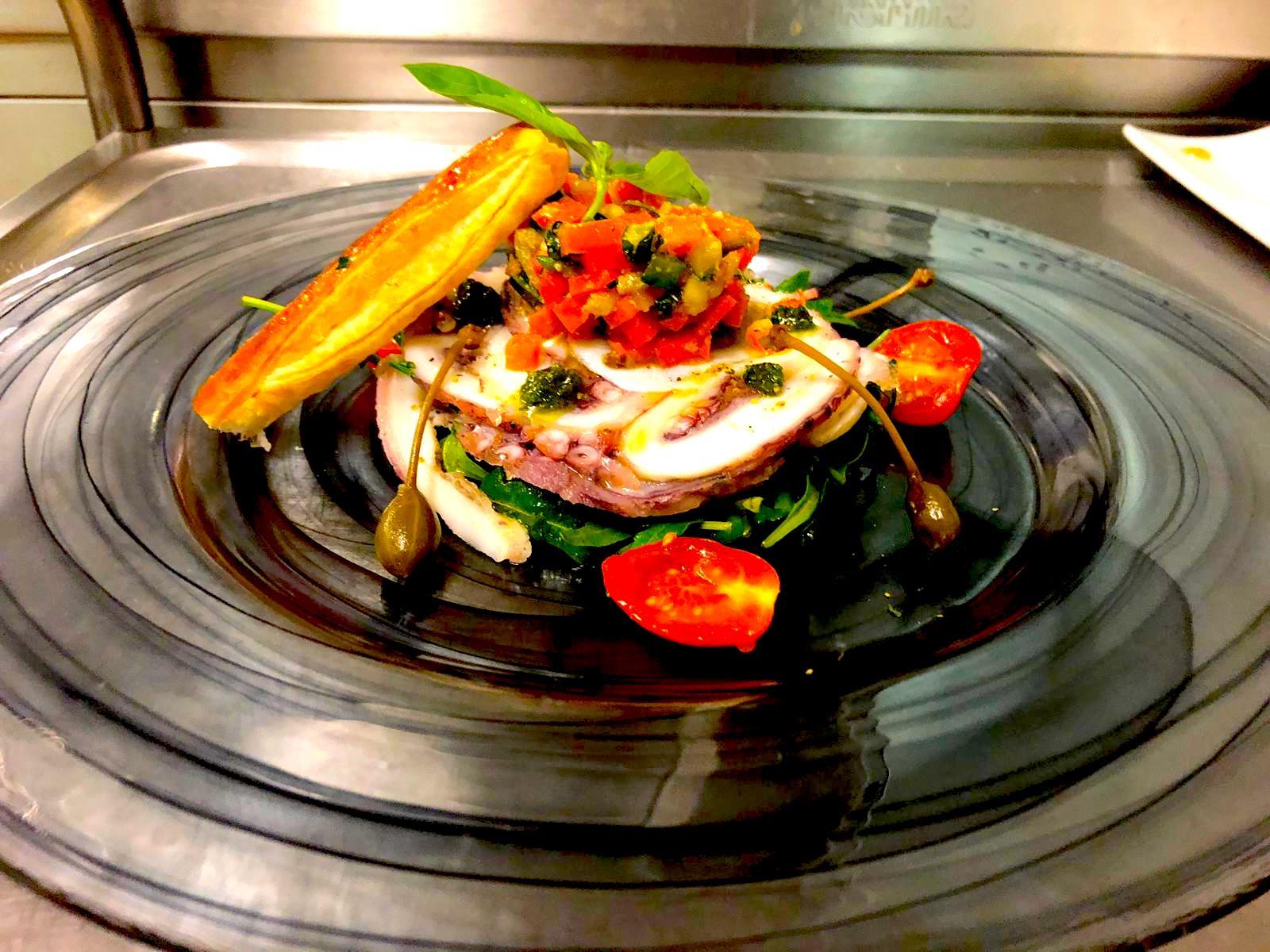 Carpaccio poulpe, restaurant du tennis lausanne